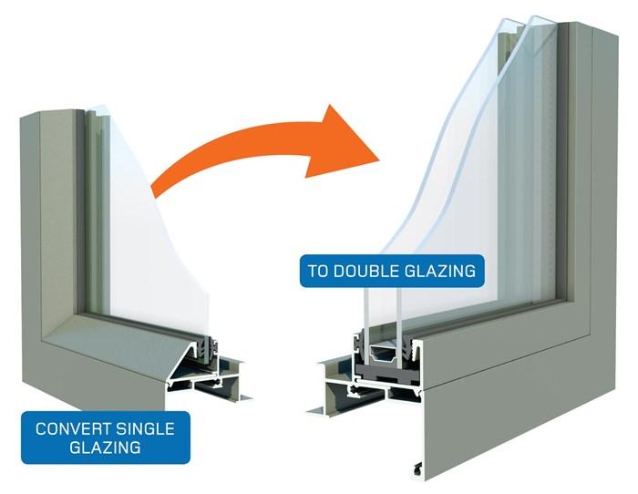 Retrofit Double Glazing Aluminium Windows diagram