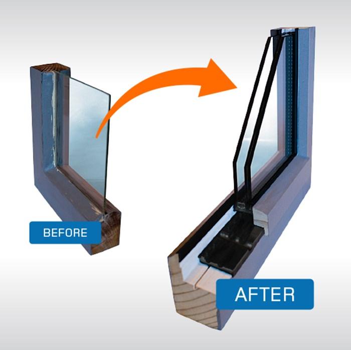 Retrofit double glazing Timber window frames